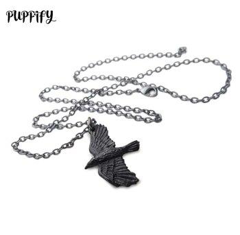 PUPPIFY 12pcslot alloy punk rock raven skull pendant necklace black gothic crow skeleton necklace for women girl skull necklace raven skull
