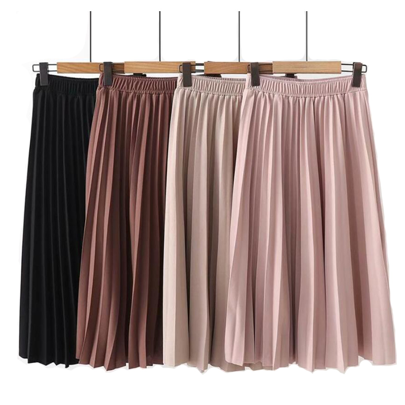 Midi Skirts Spring Summer High-Waist Women Causal Pleated Solid