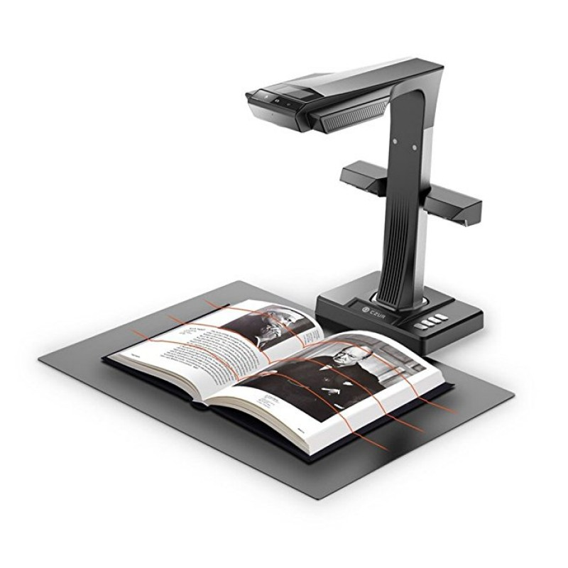 ET16 16MP Smart Book Document Scanner with Innovative Side Light 187 Languages OCR Hand Foot Pedal