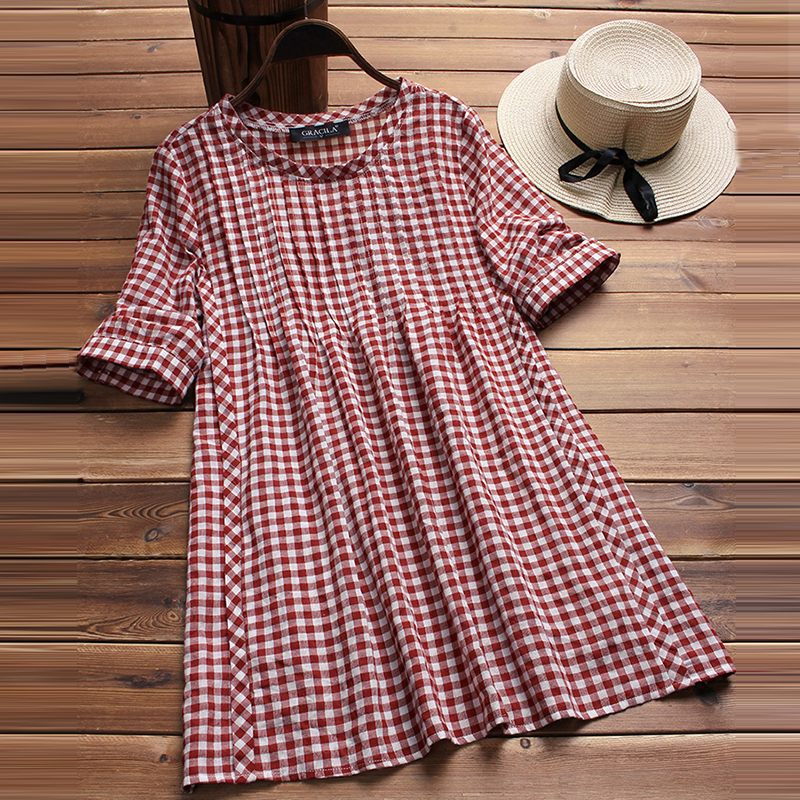 2018 Summer Fashion Women Plaid Checked Blouse Casual Work Office Tops Vintage Loose Shirt Baggy Blusa Feminina Plus Size 5XL