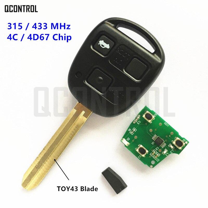 QCONTROL 3 Tasti Auto Chiave A Distanza per Toyota Camry Prado Corolla Auto Lock Door 315 MHz/433 MHz TOY43 lama
