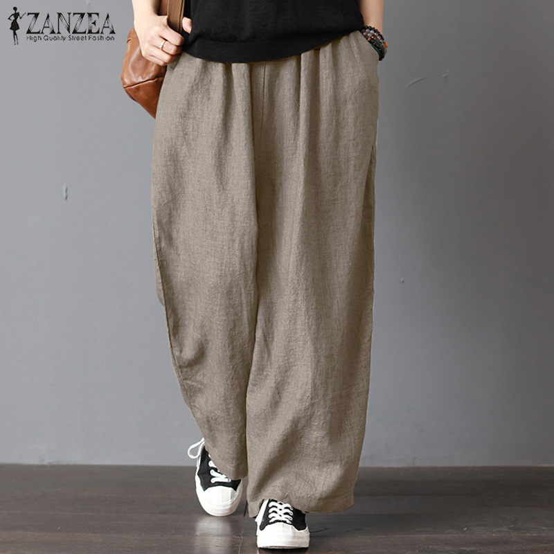 Women Summer Elastic Waist Harem Pants 2020 ZANZEA Female Autumn Causal Wide Leg Trouser Vintage Cotton Linen Pantalon Oversized