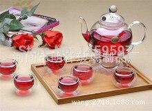 600 ML hitzebeständigem glas tee-set/wasserkocher, tee-set einschließlich 6 doppelwandigen tassen + wärmer, glas tee topf