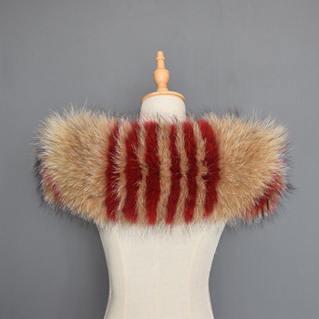 Large Hooded Furs Colorful Real Raccoon Fur Collar Natural Striped Fur Collar