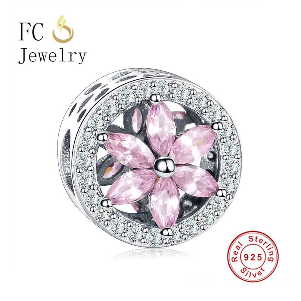 FC Jewelry Authentic 925 Sterling Silver Bead Charm Flower Bead Fit Original Pandora Charm Bracelets & Bangles DIY Gift Berloque