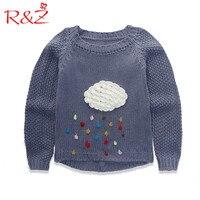 R & Z Dziewczynek Sweter 2017 Nowy Koreański Cartoon Chmury Raindrop Drukowane Gruby Sweter Sweter Top dla dzieci Ubrania dla dzieci