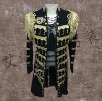 New Men's long coat Male singer costumes right Zhi Long with paragraph black tassel Windbreaker Nightclub bar DJ stage clothing