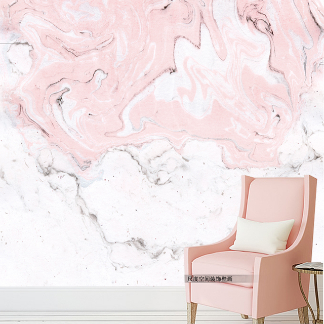 Tuya Art Pink Marble Texture Cool Mural Wallpaper For Study Livingroom Workshop Wallpapers Home Decor Free