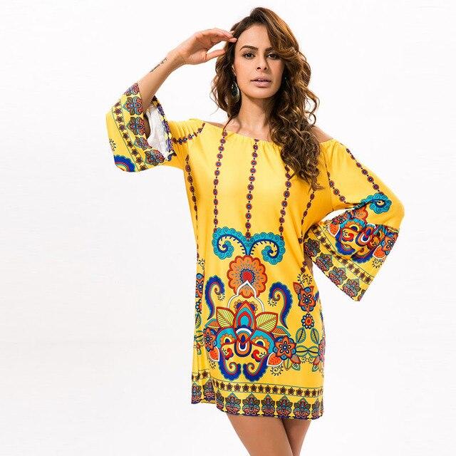 17fc40cf3d Gorąca sprzedaż Tajlandia kobiety odzież duży rozmiar 3xl sexy Czeski  krótki party indie dashiki drukowanie żółty