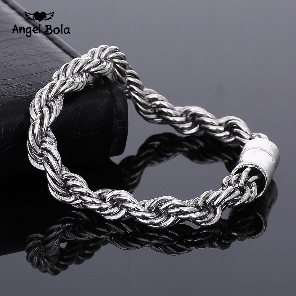 Handmade Punk Buddha Bracelets Men Jewelry Vintage Ancient Silver Rolo Chain Thick Bracelet for Womens Wholesale Free Shipping