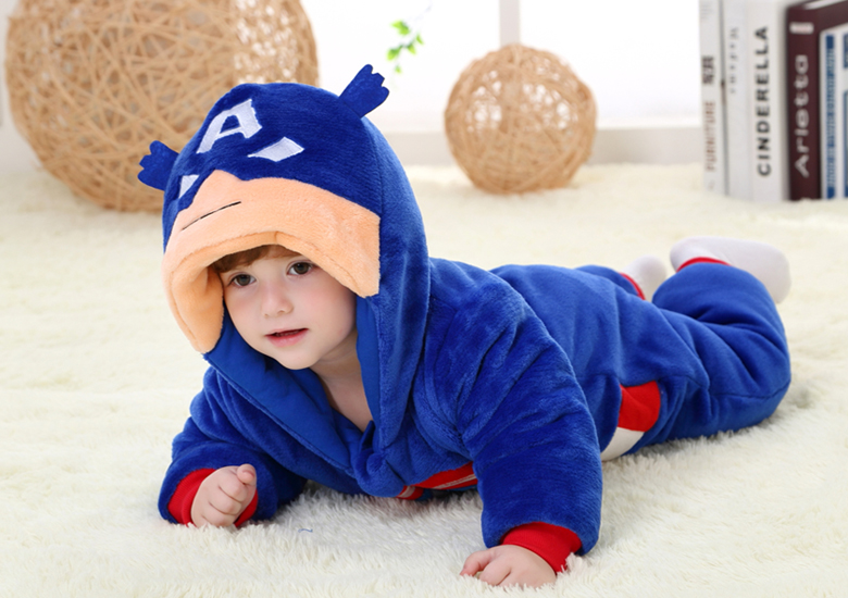 Hot Style 2 Styles Thick Long Sleeve Baby Captain America Spiderman font b Rompers b font
