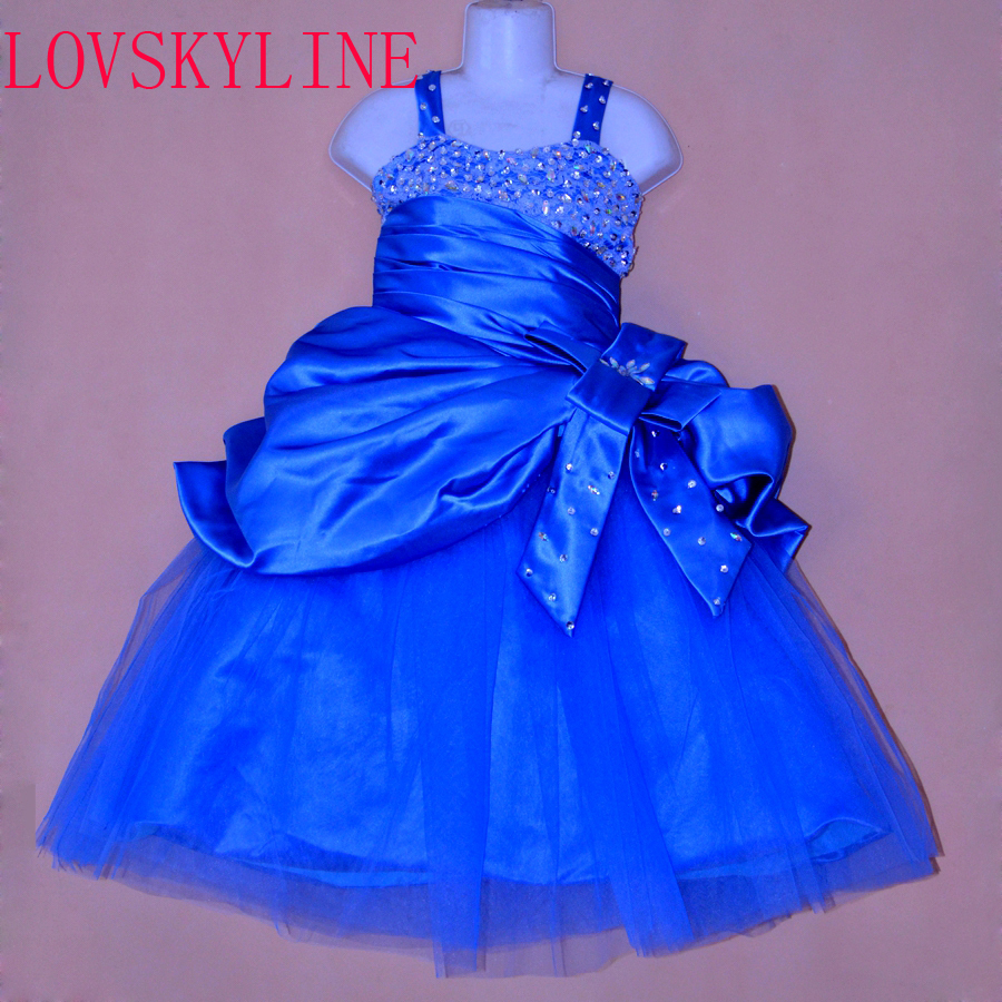 Real photo Royal Blue Sequined Beading   flower     girls     dresses   for wedding Baby birthday Party frocks sexy kids prom gowns 2018