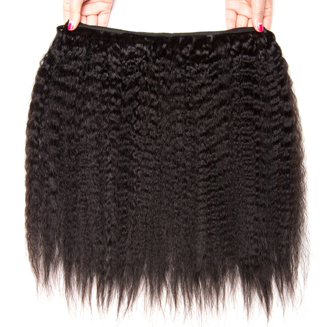 Peruvian Kinky Straight Hair Bundles Human Hair Bundles Remy Human Hair Extensions ALIPOP Natural Black Color Weave 1 Bundle