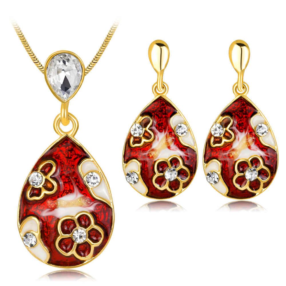 Ajojewel יפה אמייל פרח תכשיטים סטי נשים אביזרי ריינסטון עגילי שרשרת סט תכשיטי זהב