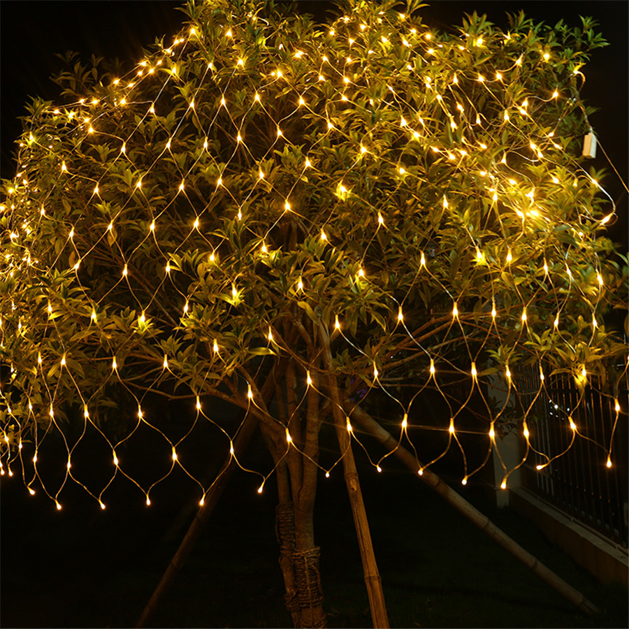 BEIAIDI 1.5X1.5M 2X2M 3X2M 6X4M LED Net Mesh String Light Curtain Net String Garland Christmas Wedding Party Holiday Lighting