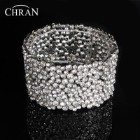 New Rhinestones Crystal Bridal Bridesmaid Wedding Stretch Wrap Chain Bracelet Bangle Fashion Alloy Lady Gift Jewelry