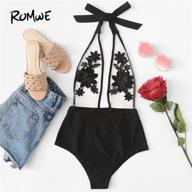 Romwe Sport Flower Embroidery Halter Mesh Swimsuit Sexy Beach Swimsuits  Clothing 2018 Women Summer One-Piece Swimwear Monokinis bf9a70e6ab16