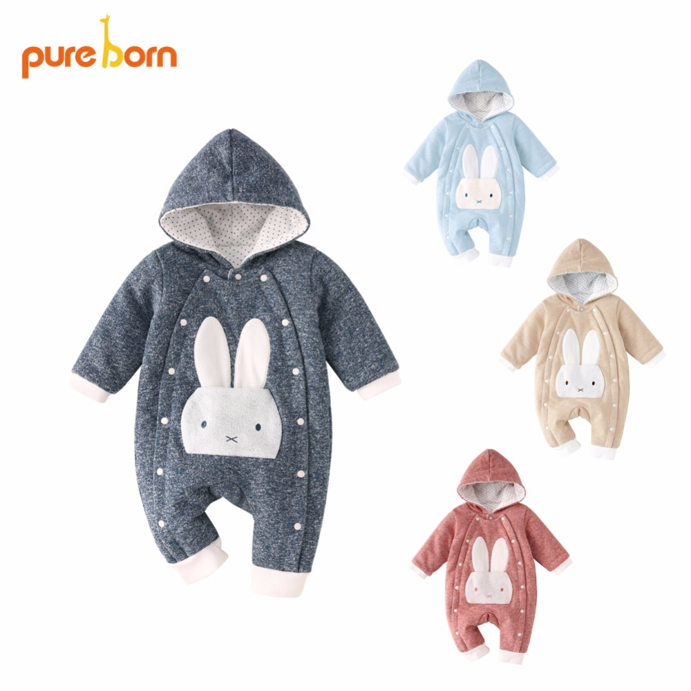 Pureborn Baby Romper Cartoon Rabbit Baby Clothes 2018 Cotton Winter Jumpsuit Newborn Hooded Overall Baby Girl Boys New year Gift baby girl romper solid pink blue cute cartoon rabbit design christmas romper toddler baby girls jumpsuit boutique baby clothes