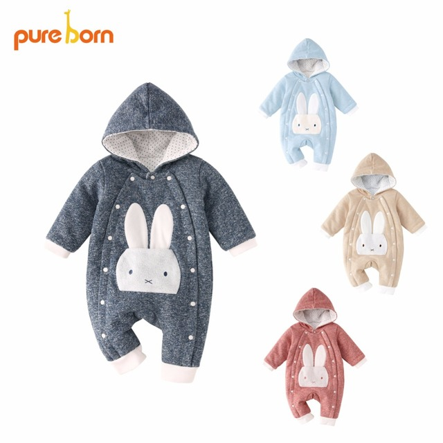 Pureborn Baby Romper Cartoon Rabbit Baby Clothes 2018 Cotton Winter Jumpsuit Newborn Hooded Overall Baby Girl Boys New year Gift