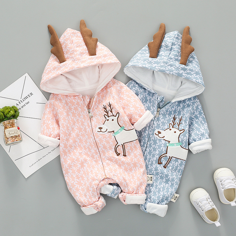 Children spring and autumn cotton cartoon deer crawling clothes baby jumpsuit baby rompers