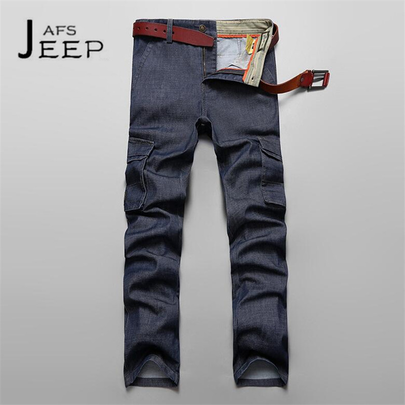 цена на AFS JEEP Blue Color Man's Leg Pockets Cargo Jeans,Mid Waist,Multi pockets Cotton Motorcycle Loose Denim Bottoms Multi-bolsillo