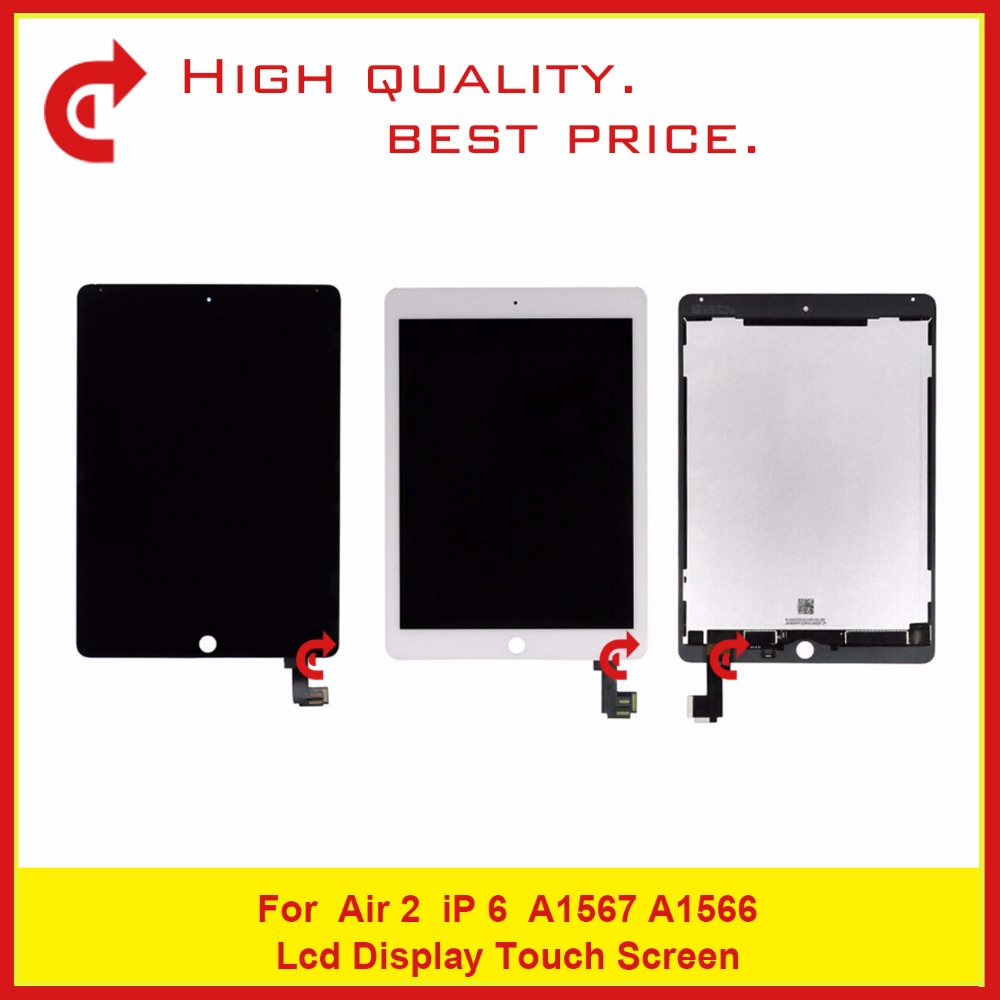 High Quality 9.7 For iPad Air 2 For iPad 6 A1567 A1566 Full LCD Display With Touch Screen Digitizer Panel Glass Sensor Assembly for ipad air 2 ipad6 a1567 a1566 lcd display touch screen digitizer assembly for ipad 6