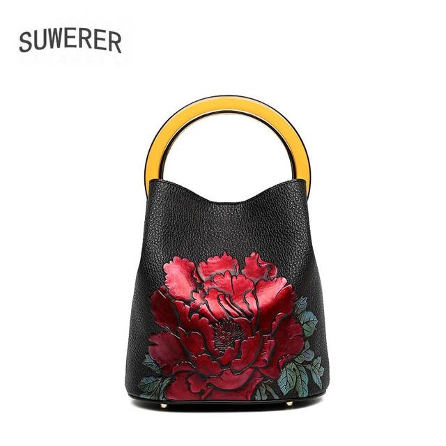 SUWERER mujeres bolsos de cuero genuino para mujeres 2018 nuevos bolsos de lujo Bolsos De Mujer diseñador estampado flores arte bolsa de cubo