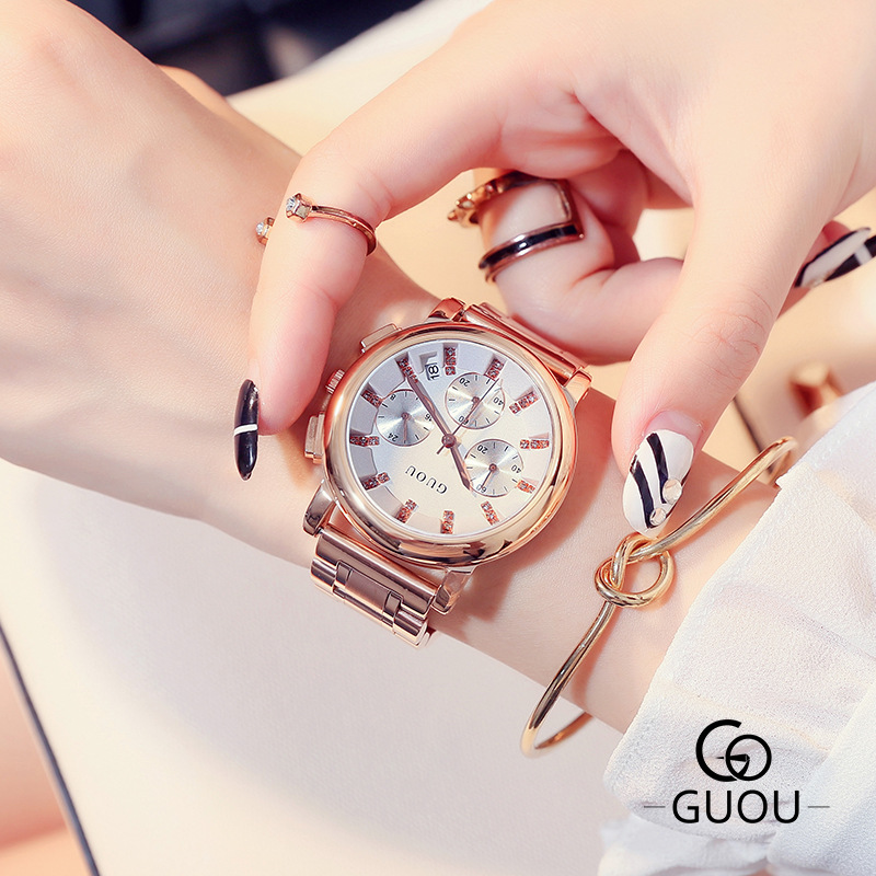 2018 New Arrival GUOU Crystal Full Stainless Steel 3 Eyes Rose Gold No Fade Wristwatches Wrist Watch Bracelet for Women Girls цена и фото