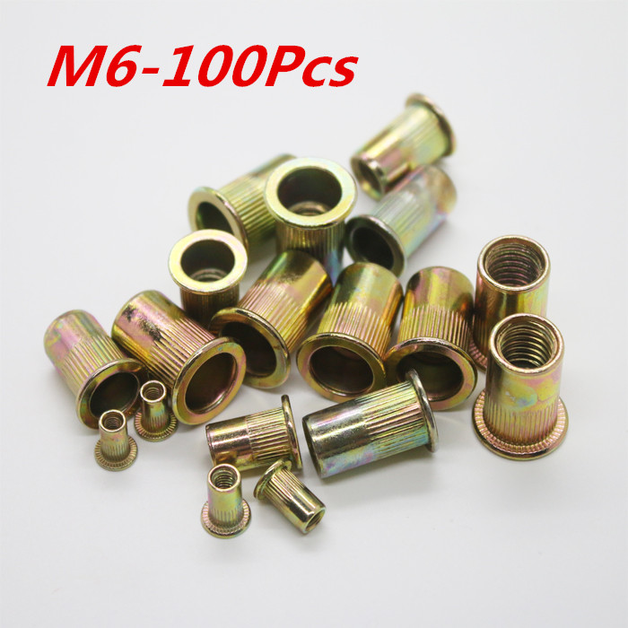 M6 Threaded Carbon Steel Rivet Nut Rivnut Inserts Nut 100Pcs/Lot Free Shipping free shipping 100pcs lot pt2262s pt2262 sop20