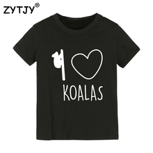 Детская футболка с принтом «I love koalas» футболка для мальчиков и девочек, детская одежда для малышей Забавные футболки, Прямая поставка, Y-70