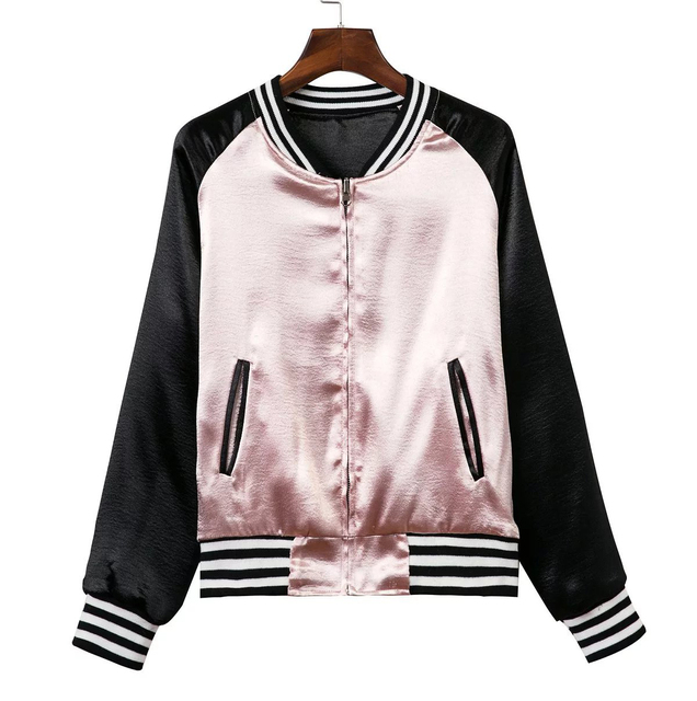 Black bomber jacket from pink
