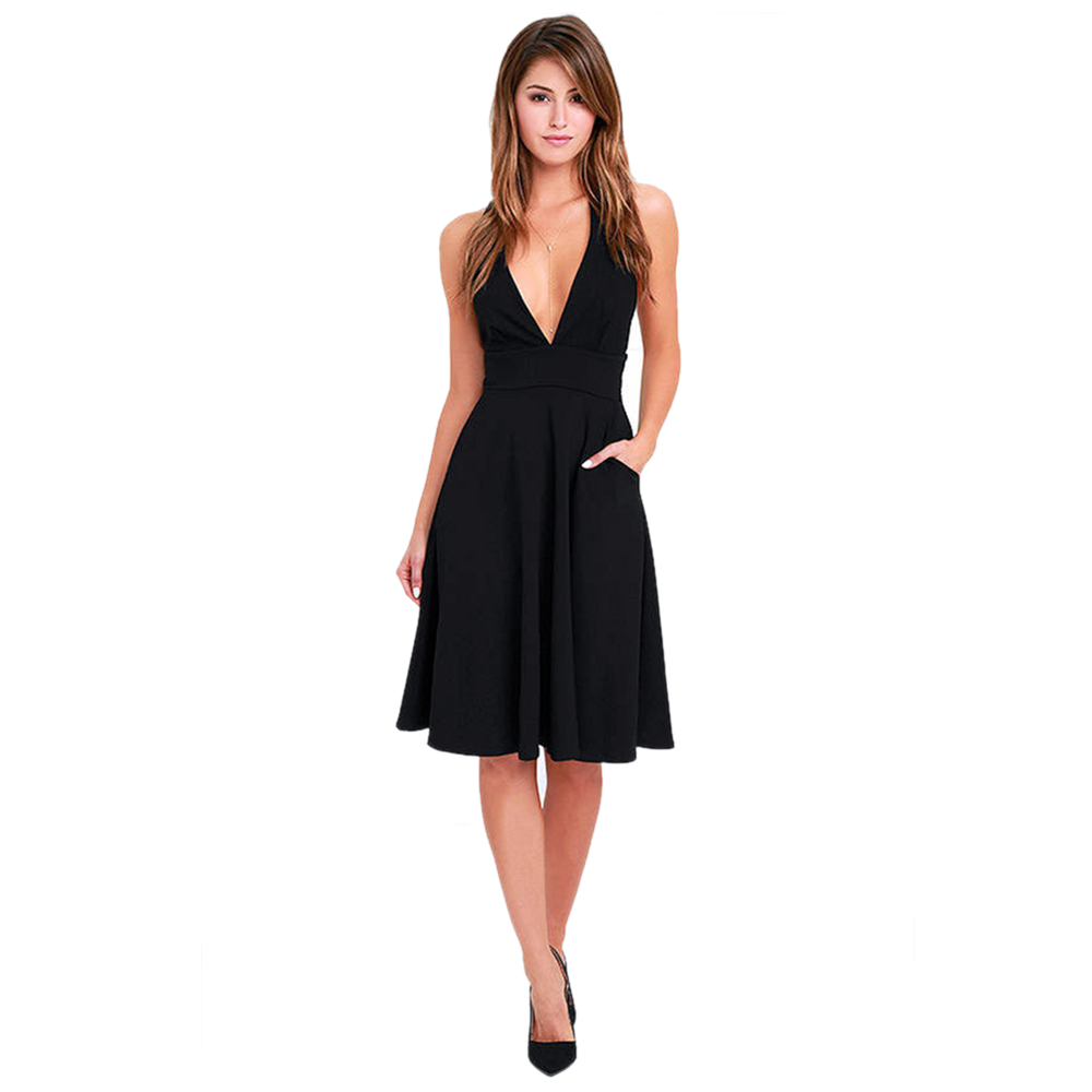 TFGS Women S New Design Deep V Neck Female Sleeveless Sexy Dresses Party Zipper Back A