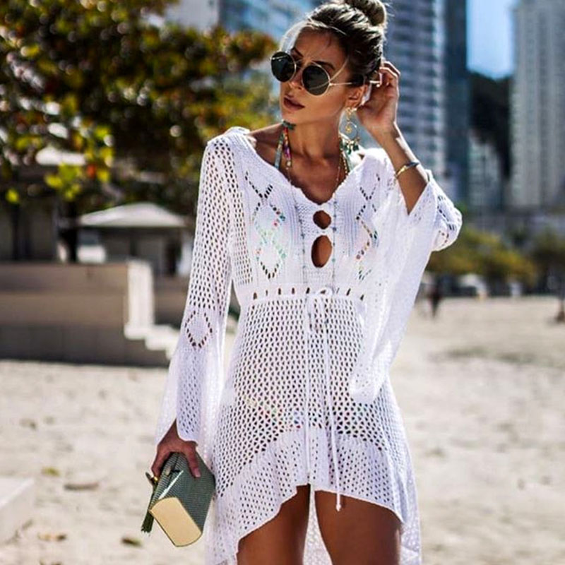 BLESSKISS Pareo Beach Cover Up Dress Women Tunic Summer Knitted Crochet Long Sleeve Bikini Swimsuit Outlet Mesh Coverups Skirt outfits para playa mujer 2019