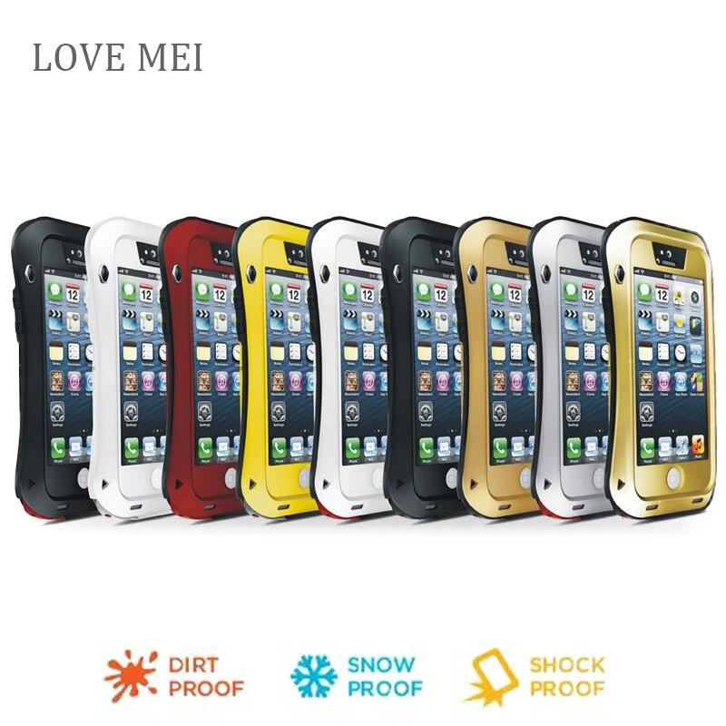 imágenes para Para el iphone 5 Gorilla Glass Amor Mei Prueba de Golpes A Prueba de agua Cubierta de la Caja de Aluminio del Metal Para el iphone 5S Tres pruebas de casos de teléfono