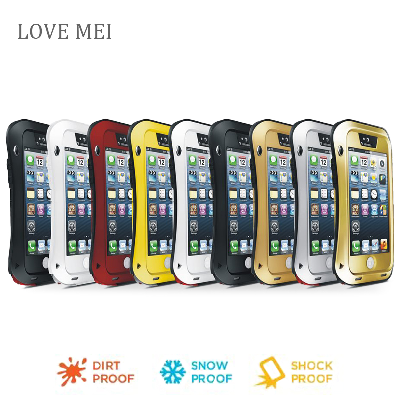 for iphone 5 Love Mei Waterproof Shockproof Gorilla Glass Metal Aluminum Case Cover For iphone 5s