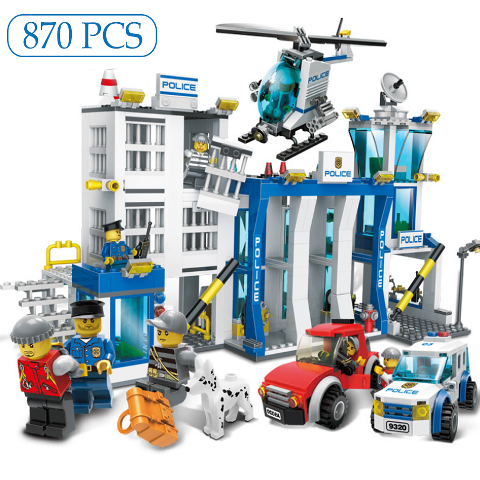 870PCS Police Station Motorbike Helicopter Prison Car Model Building Blocks Kit Compatible Legoed City Figures Toys For Children 870pcs city police station big building blocks bricks helicopter boys toys birthday gift toy brinquedos compatible with legoing