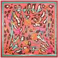 Контрастность Leopard Мода Шелковый Шарф Женщины Квадратные Шарфы Женские Сумки Печати Foulards Горячие