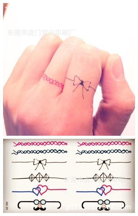 Buy body art glasses bowknot finger ring for Temporary finger tattoos
