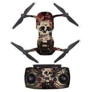 Ужасно череп Водонепроницаемый ПВХ Наклейка кожи стикер для DJI MAVIC Air Drone Защитная пленка для тела + удаленные крышки контроллеров