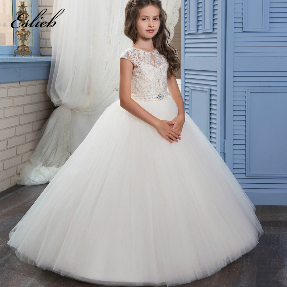 Real Image Ivory White Lace   Flower     Girls     Dresses   Ball Gown Floor Length   Girls   Holy Communion   Dress   Princess   Dress   0-14 Old 2017