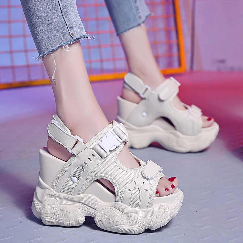 แฟชั่นฤดูร้อนผู้หญิงรองเท้าแตะ 12 ซม. รองเท้าส้นสูง Wedge แพลตฟอร์มรองเท้าผ้าใบ Breathable ตาข่ายส้นสูงรองเท้าแตะผู้หญิง Gladiator รองเท้าแตะ