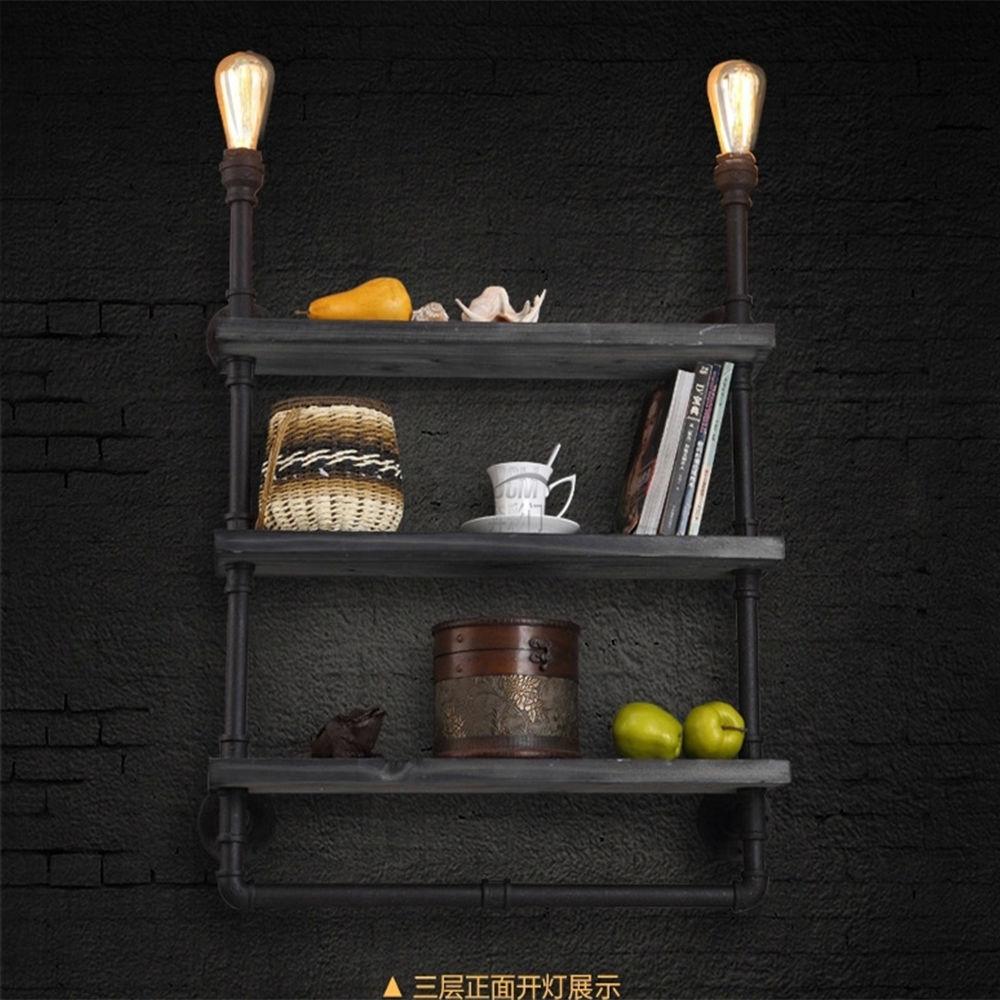 Vintage Industrial Water Pipe Wall Lamp Light Iron Bookshelf Room Decor Book Shelf