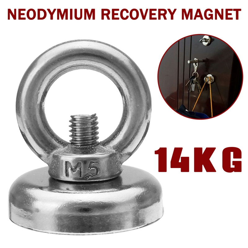Universal 1Pcs 14KG 25mm Neodymium Recovery Magnet Metal Detector Treasure Hunting Fishing Sucker With Hook Hand Tools