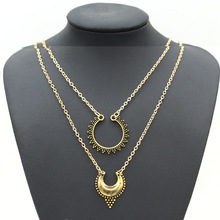 European and American fashion exquisite Street metal carved double sweater chain necklace crescent Z3214