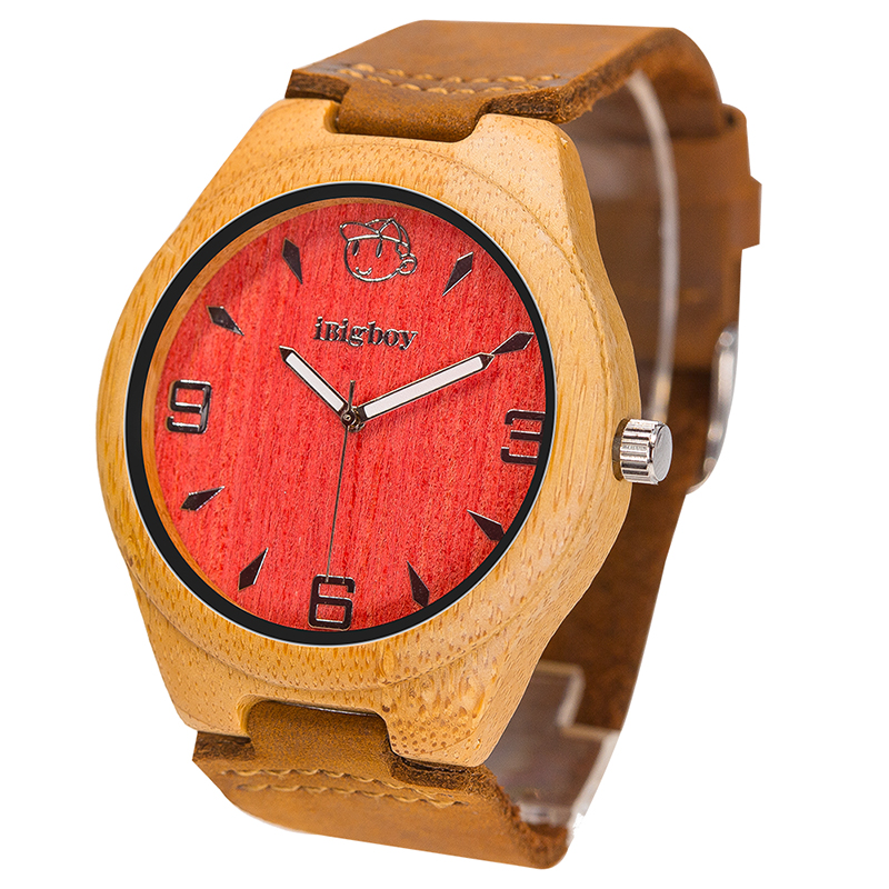 iBigboy Men Wooden Watches Women Wristwatch Luxury Padauk Wood 12 Hour Analog Japan Quartz Leather Strap