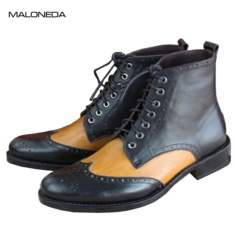 MALONEDA модные броги узор ботильоны заказ смешанных Цвет черный и желтый из натуральной коровьей кожи Goodyear Для мужчин; полусапожки