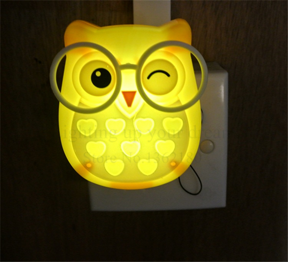 Cute Cartoon Owl Led Mini Night Light Auto Control LED Sensor Lights ...