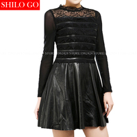 2017 spring fashion women high quality sheepskin sexy lace round neck stitching leather A Line self cultivation leather dress