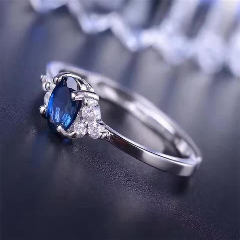Օղակաձև կանանց համար ստերլինգ 925 արծաթե շափյուղա զարդեր ներգրավվածություն հարսանիքի նորաձևության շապիկ Blue Sapphire Ring