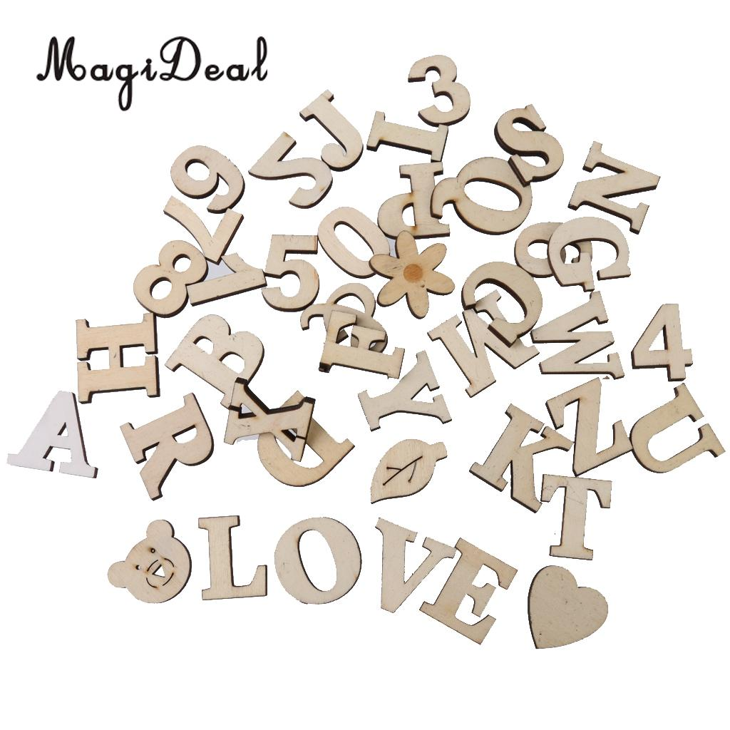 MagiDeal New Hot Sale 41Pcs Mixed Wooden Number Alphabet Sign Pattern Craft for Wedding Party Scrapbooking Card Making Project